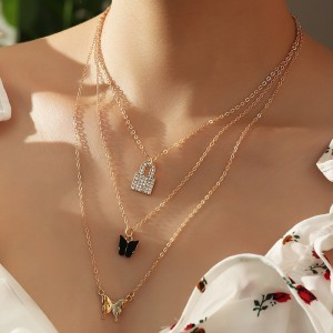 Gold Plated Ladies Multi Fashion Necklace - Multi Color