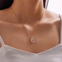 Gold Plated Ladies Crystal Fashion Necklaces - Golden