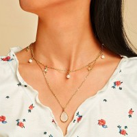 Ladies Crystal And Pearl Double Layer Necklace - Golden
