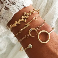 4 Pieces Ladies Fashion Gold Plated Bracelet Set - Golden
