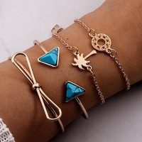 4 Pieces Woman Elegant Gold Plated Bracelet Set - Golden