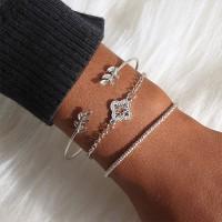 3 Pieces Girls Fashion Wild Silver Plated Bracelet Set - Silver