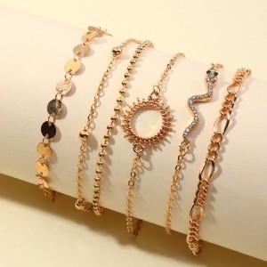 5 Pieces Girls Sequin Gold Plated Bracelet Set - Golden