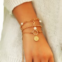 3 Pieces Girls Love Gold Plated Bracelets Set - Golden