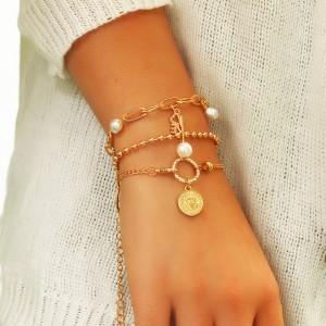 3 Pieces Girls Love Gold Plated Bracelets Set - Golden