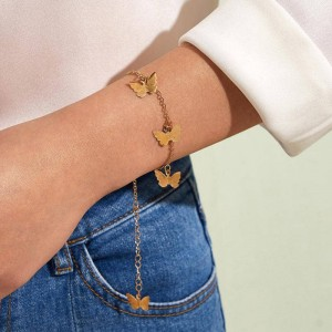 Ladies Butterfly Gold Plated Bracelets - Golden