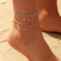 4 Pieces Ladies Fashion Gold Plated Anklets Set - Golden