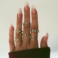 8 Pieces Ladies Retro Wild Gold Plated Rings Set - Golden