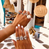 7 Pieces Woman Shell Silver Plated Rings Set - Silver