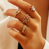 4 Pieces Girls Fashion Gold Plated Rings Set - Golden