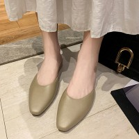 Synthetic Leather Women Fashion Flat Closed Toe Slippers - Apricot