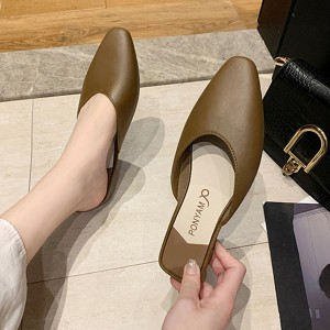 Synthetic Leather Women Fashion Flat Closed Toe Slippers - Brown
