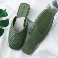 Patchwork Pattern Open Style Flat Women Closed Toe Slippers - Green