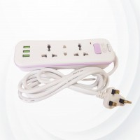 Universal Extension Power Socket With 3 Usb Ports - Light Pink