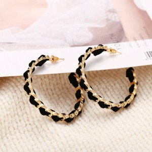 Rhinestones Decorative Gold Plated Spiral Earrings Pair - Black