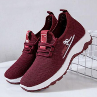 Canvas Laced Up Sports Women Fashion Sneakers - Red