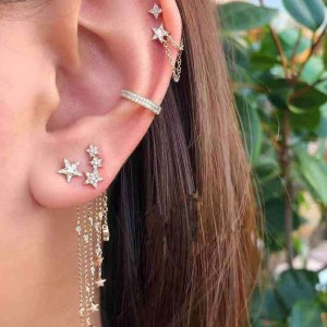 4 Pieces Gold Plated Star Earrings - Golden
