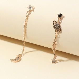 Woman Rhinestone Gold Plated Tassel Earrings - Golden