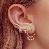 5 Pieces Woman Pearl Gold Plated Earrings Set - Golden