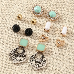 6 Pairs Girls Fashion Wild Earrings - Multi Color