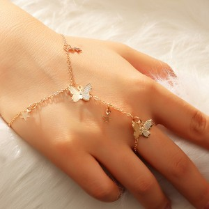 Ladies Gold Plated Butterfly Bracelets - Golden