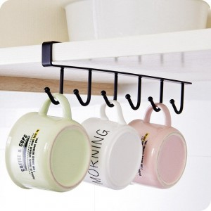 Six Hooked Easy Installation Cabinet Hanging Rack - Black