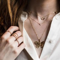 Women Fashion Gold Plated Butterfly Necklace - Golden