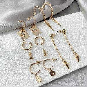 Gold Plated Five Pieces Women Fashion Earrings Pair Set