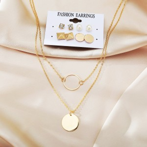 Gold Plated Women Fashion Pendant With Ear Tops Set
