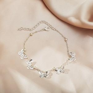 Silver Plated Hollow Chain Women Fashion Bracelet - Silver