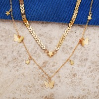 Butterfly Gold Plated Women Fashion Necklace - Golden