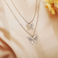 Silver Plated Double Layered Butterfly Carved Necklace - Silver