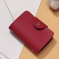 Titch Button Closure Synthetic Leather Card Wallet - Red