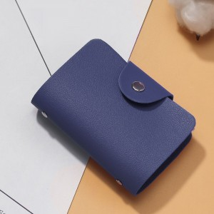 Titch Button Closure Synthetic Leather Card Wallet - Blue
