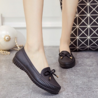 Bow Plastic Sole Slip Over Casual Wear Flat Shoes - Black