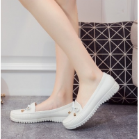 Bow Plastic Sole Slip Over Casual Wear Flat Shoes - White