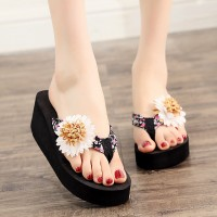 Flower Patched Thick Sole Flip Flop Women Fashion Slippers - Black