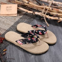 Flip Flops Floral Printed Women Fashion Casual Wear Slippers - Black