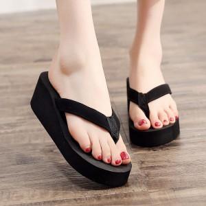Flip Flops Women Fashion Casual Wear Slippers - Black