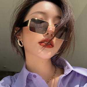 Unisex Fashion Gold Side Sunglasses - Dark Gray