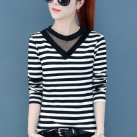Thin Fabric Full Sleeves Solid Color Top - Black and White