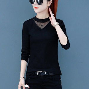 Thin Fabric Full Sleeves Solid Color Top - Black