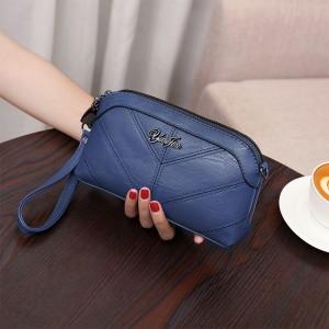 Zipper Closure Synthetic Leather Women Fashion Wristlet Wallet Bags - Blue