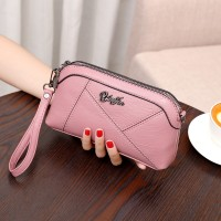 Zipper Closure Synthetic Leather Women Fashion Wristlet Wallet Bags - Pink