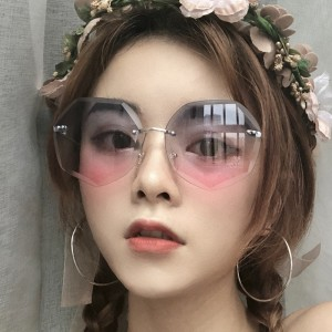 Girls Fashion Frameless Gradient Sunglasses - Gray Pink