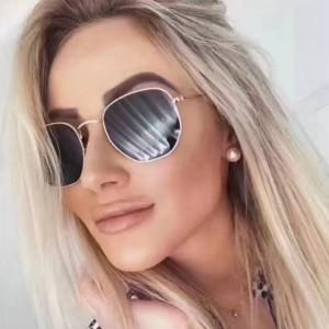 Woman Metal Polygonal Sunglasses - Gray Gold
