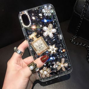Decorative Rhinestones Luxury Crystal Patched Iphone Cover - Black