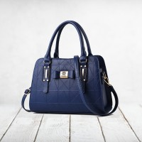 Geometric Textured Synthetic Leather Women Handbags - Blue