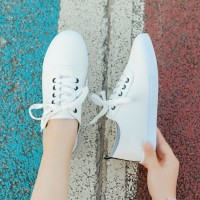 Casual Wear Young Style Laced Up Flat Wear Sneakers - White