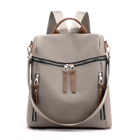 Zipper Closure Nylon Canvas Women Fashion Backpacks - Gray